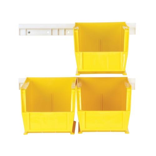 Yellow Plastic Storage Bin With Rails