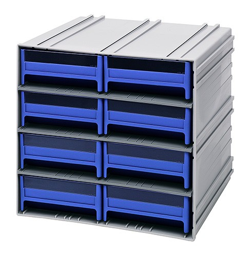Interlocking Storage Cabinet With Blue Plastic Drawers ...