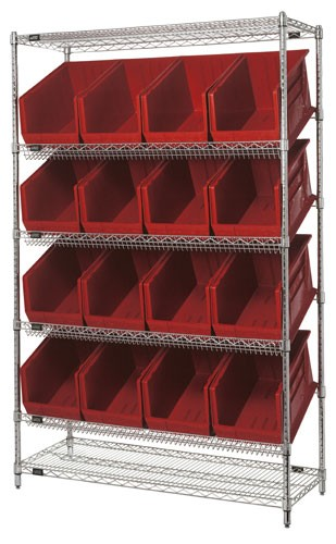 ... Slanted Wire Shelving with Plastic Storage Bins - Red ... & Storage Bin Slanted Wire Shelving Units - WRSL6-74-1848-260 | Bin ...