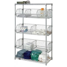 Chrome Wire Shelving Stationary Basket Unit