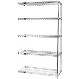74''H Conductive Chrome 5-Shelf Add-On Kits