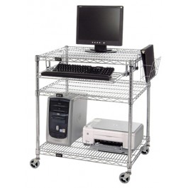 SMART Board Chrome Wire Shelving Portable Computer Cart Center