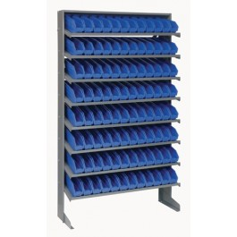 Single Sided Pick Rack with Bins - Blue