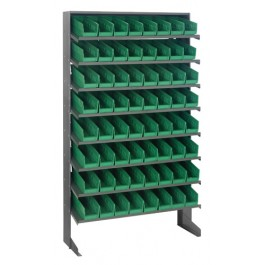 Single Sided Pick Rack with Bins - Green