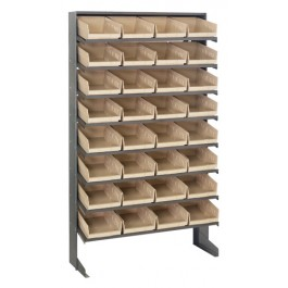 Single Sided Pick Rack with Bins - Ivory