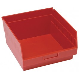 Red Plastic Shelf Bin