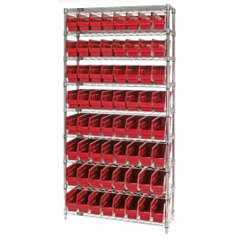 Wire Shelving Unit with Red Plastic Storage Bins