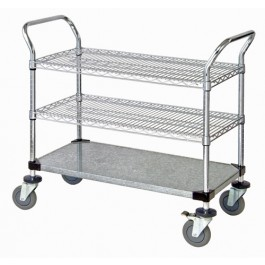 Wire & Solid Shelving Utility Carts