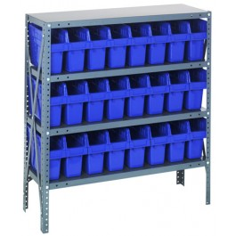 Steel Shelving Unit with Blue Plastic Bins