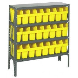 Steel Shelving Unit with Yellow Plastic Bins