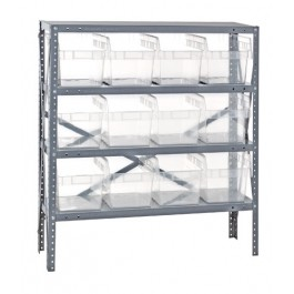 Steel Shelving Unit with Clear Plastic Bins
