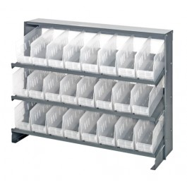 Sloped Bench Rack with Clear Bins