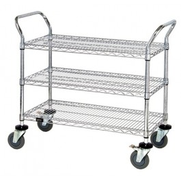 ESD Wire Shelving Utility Cart WRC-2448-3CO