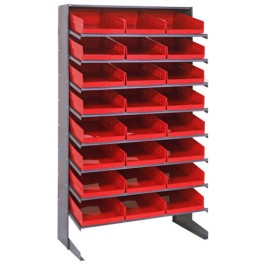 Single Sided Pick Rack with Bins - Red
