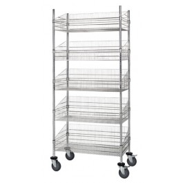 5 Wire Post Basket Mobile Cart
