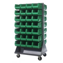 Green Plastic Storage Bins Louvered Panel Rack Systems