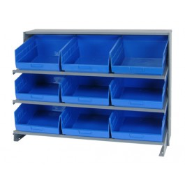 Bench Rack with Plastic Bins Blue