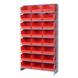 Red Plastic Storage Bin Single Sided Pick Racks