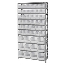 Steel Shelving Unit with Clear Bins