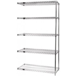 14'' x 48'' x 74'' 5-Shelf, Stainless Steel Wire Shelving Add-On Unit