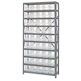 Clear Plastic Storage Bin Steel Shelving System