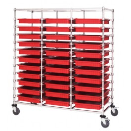 Triple Bay Transport Cart with Red Bins