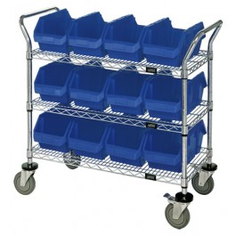 Wire Utility Cart with Plastic Bins Blue