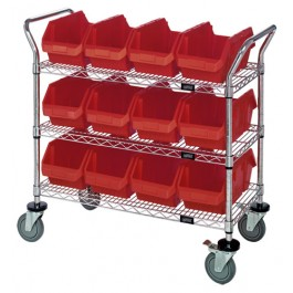 Wire Utility Cart with Plastic Bins Red