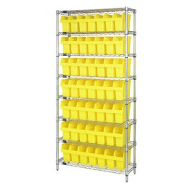 Wire Shelving Unit with Yellow Plastic Bins