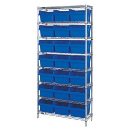 Wire Shelving Unit with Blue Plastic Bins