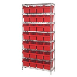 Wire Shelving Unit with Red Plastic Bins