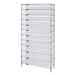 Wire Shelving with Clear Bins