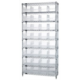 Wire Shelving Unit with Clear Plastic Storage Bins