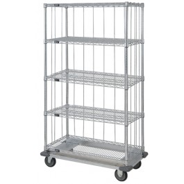 Enclosed 5-Shelf Wire Shelving Carts
