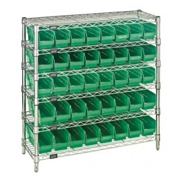 Plastic Storage Bin Wire Shelving Units Green