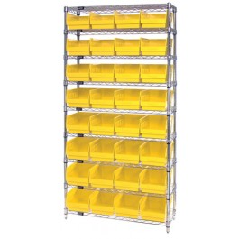 Wire Shelving Unit with Yellow Plastic Storage Bins