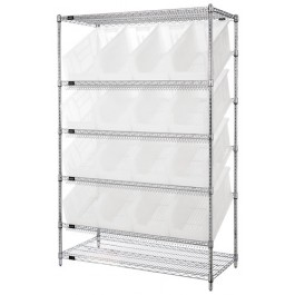 Clear Plastic Storage Container Sloped Wire Shelving Systems
