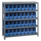 Blue Plastic Storage Bin Steel Shelving Systems