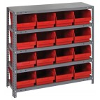 Red Plastic Storage Bin Steel Shelving Systems
