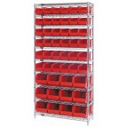 Red Plastic Bin Wire Shelving Unit