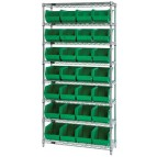 Wire Shelving with Green Plastic Bins