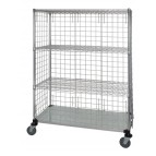 3 Wire & 1 Solid Shelf Stem Caster Linen Cart