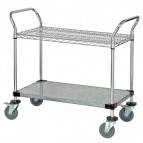 Wire &amp; Solid Shelving Utility Carts
