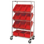 Plastic Storage Container Slanted Wire Shelving Units