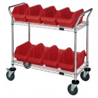 Wire Utility Cart with Red Plastic Bins