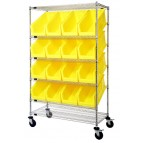 Slanted Wire Shelving Cart with Yellow Plastic Storage Bins