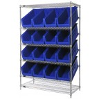 Slanted Wire Shelving Unit with Blue Plastic Storage Bins