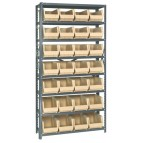 Plastic Storage Bin Steel Shelving System Ivory