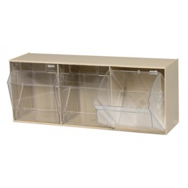 QTB303 Ivory Clear Tip Out Open Tilt Bin