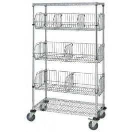 Chrome Wire Shelving Mobile Basket Carts